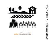 farm icon . agriculture icon... | Shutterstock .eps vector #745659718