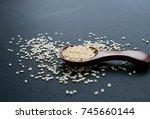 organic natural sesame seeds...   Shutterstock . vector #745660144