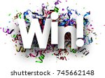 white win festive card with... | Shutterstock .eps vector #745662148
