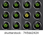hands and money vector icons... | Shutterstock .eps vector #745662424