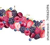 fresh berries garland....   Shutterstock . vector #745662496