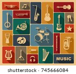 silhouettes of various musical... | Shutterstock .eps vector #745666084