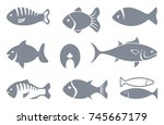set of fishes silhouettes.... | Shutterstock .eps vector #745667179