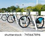 public parking of rental... | Shutterstock . vector #745667896
