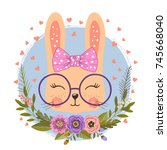 cute rabbit girl. little bunny... | Shutterstock .eps vector #745668040