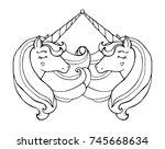 unicorns isolated. magical... | Shutterstock .eps vector #745668634