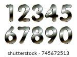 set of metal numbers.vector... | Shutterstock .eps vector #745672513