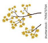 a maple branch on a white... | Shutterstock .eps vector #745673764