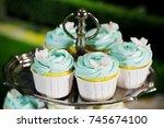 blue cupcake on cakestand... | Shutterstock . vector #745674100