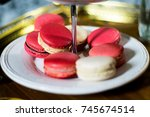 white and pink macaron on... | Shutterstock . vector #745674514