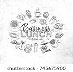 business lunch monogram with...   Shutterstock .eps vector #745675900