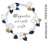 Graphic Magnolia Wreath In Deep ...
