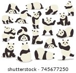 collection of pandas in... | Shutterstock .eps vector #745677250