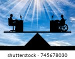 silhouette of a worker disabled ... | Shutterstock . vector #745678030