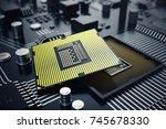 3d rendering central computer... | Shutterstock . vector #745678330