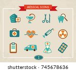 set of medical icons in a retro ... | Shutterstock .eps vector #745678636