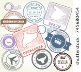 travel stamps set barcelona ... | Shutterstock .eps vector #745680454
