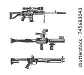 machine gun set | Shutterstock .eps vector #745683043