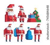 santa characters set. pixel art ... | Shutterstock .eps vector #745684648