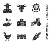 agriculture glyph icons set.... | Shutterstock .eps vector #745685320