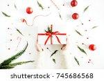 girl's hands holding christmas... | Shutterstock . vector #745686568