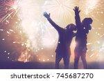 lover women and men asians... | Shutterstock . vector #745687270