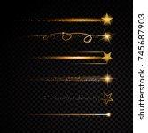 gold glittering spiral star... | Shutterstock .eps vector #745687903