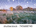 Small photo of Winter landscape with first snowflakes on frosty meadow in November. Scenery snowy autumn at early morning