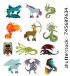 fantastic animal beasts... | Shutterstock .eps vector #745689634