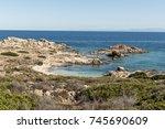 paradise beach of asinara... | Shutterstock . vector #745690609