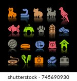 icons on a veterinary science... | Shutterstock .eps vector #745690930