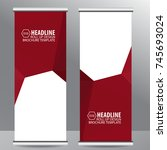 roll up business brochure flyer ... | Shutterstock .eps vector #745693024