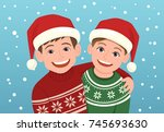 christmas portrait of a couple... | Shutterstock .eps vector #745693630