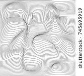 distorted wave monochrome... | Shutterstock .eps vector #745695919