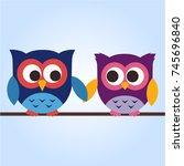 cute owls | Shutterstock .eps vector #745696840