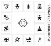 set of 13 editable baby icons....
