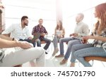 team sitting in a lesson on... | Shutterstock . vector #745701790