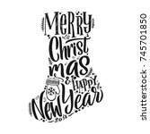 merry christmas typography ... | Shutterstock .eps vector #745701850
