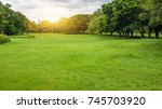 green park. green tree and... | Shutterstock . vector #745703920