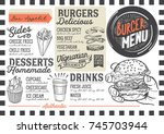 burger food menu for restaurant ... | Shutterstock .eps vector #745703944