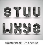 trendy black fractal geometric... | Shutterstock .eps vector #74570422