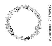 handdrawn wreath made in vector.... | Shutterstock .eps vector #745709560