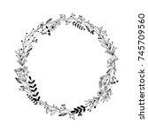 handdrawn wreath made in vector....   Shutterstock .eps vector #745709560