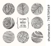 hand drawn wavy linear textures ... | Shutterstock .eps vector #745709569