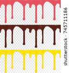 set of horizontal seamless drip ... | Shutterstock .eps vector #745711186