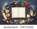 christmas baking sweet food... | Shutterstock . vector #745713100
