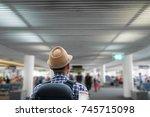 hipster man walking in... | Shutterstock . vector #745715098