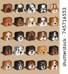 dogs square isometric heads... | Shutterstock .eps vector #745716553
