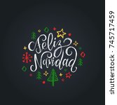 feliz navidad translated from... | Shutterstock .eps vector #745717459