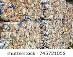 plastic bales bottles at the... | Shutterstock . vector #745721053